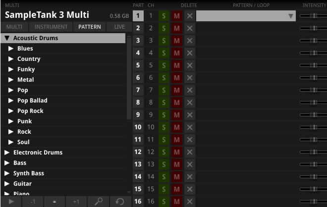 MIDIパターンメイン画面